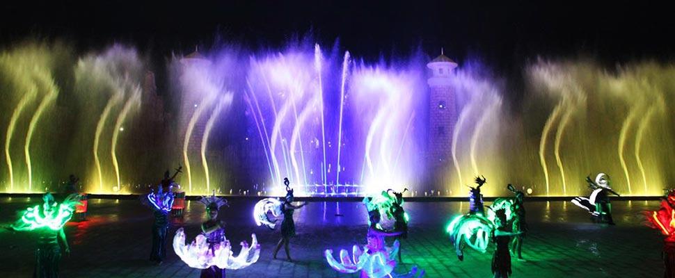 Шоу фонтанов в парке Винперл на Фукуоке