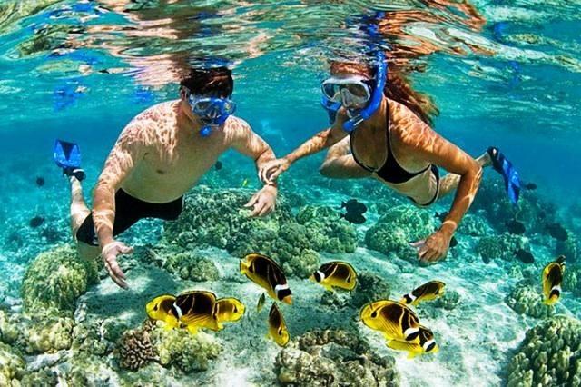 Снорклинг на острове Фукуок, кораллы и рыбки
