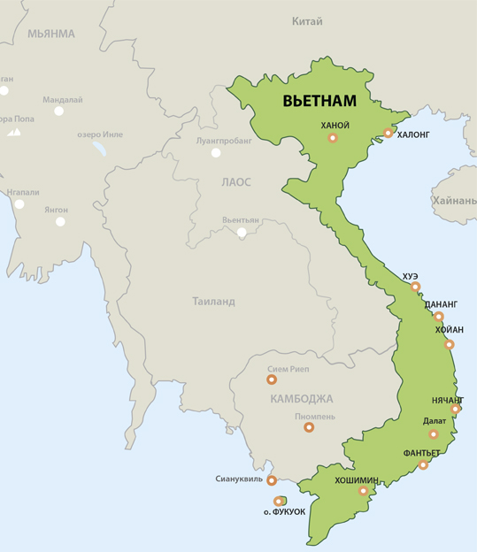 Вьетнам на карте: с кем граничит